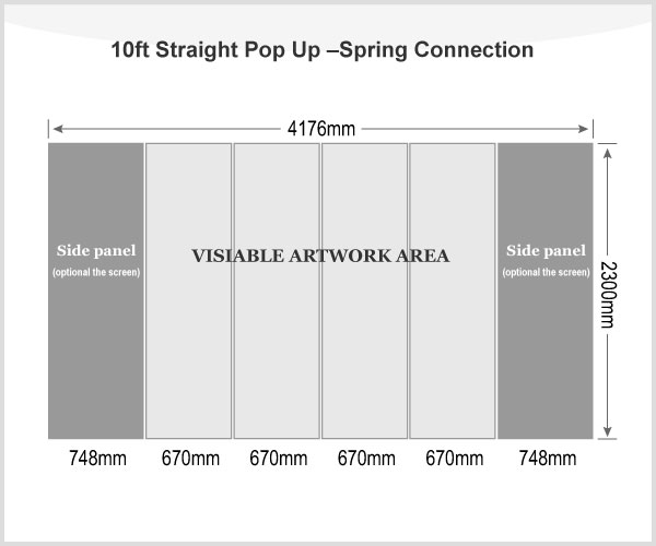 10ft Straight Pop Up Display(Frame only)-Spring Connection