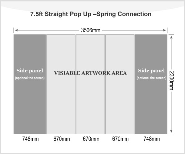 7.5ft Straight Pop Up Display(Frame only)-Spring Connection