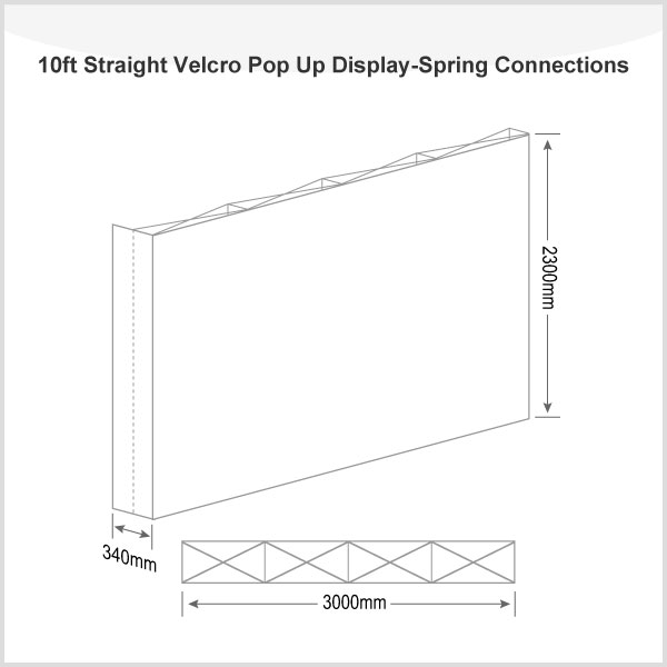 10ft Straight Velcro Pop Up Display(Graphic included)-Spring Connections
