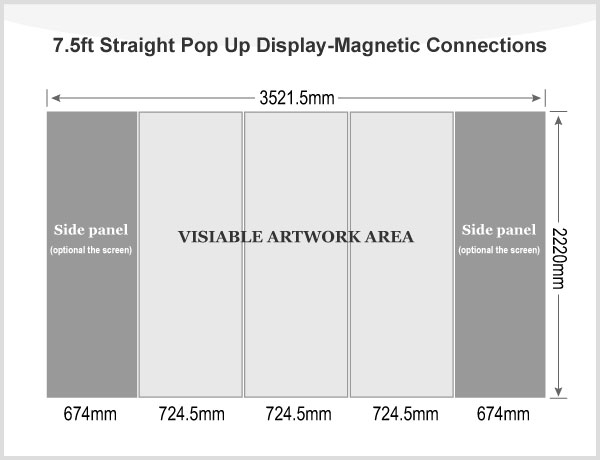 7.5ft Straight Pop Up Display(Frame only)-Magnetic Connections