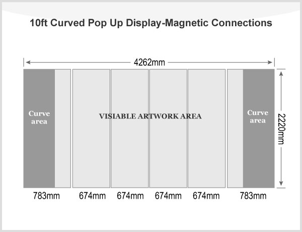 10ft Curved Pop Up Display(Frame only)-Magnetic Connections