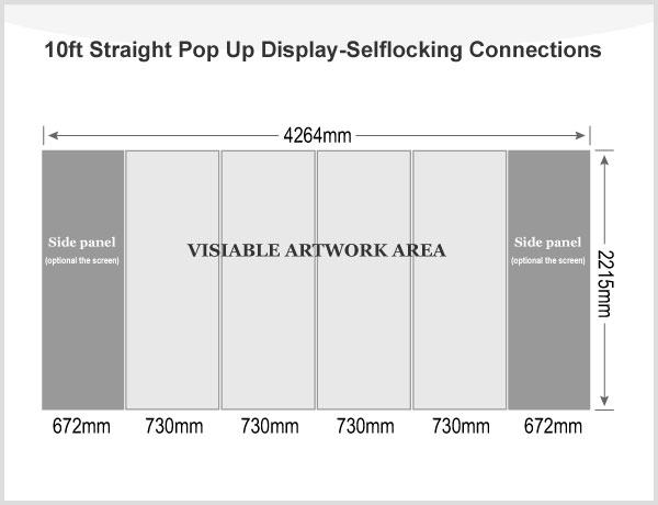 10ft Straight Pop Up Display(Frame only)-Selflocking Connections