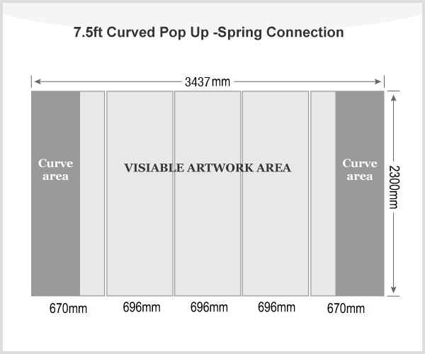 7.5ft Curved Pop Up Display(Graphic included)-Spring Connection