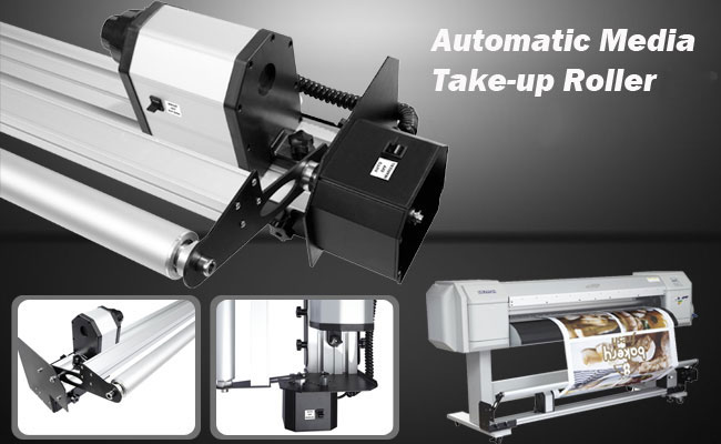 automatic media printer take-up roller reel