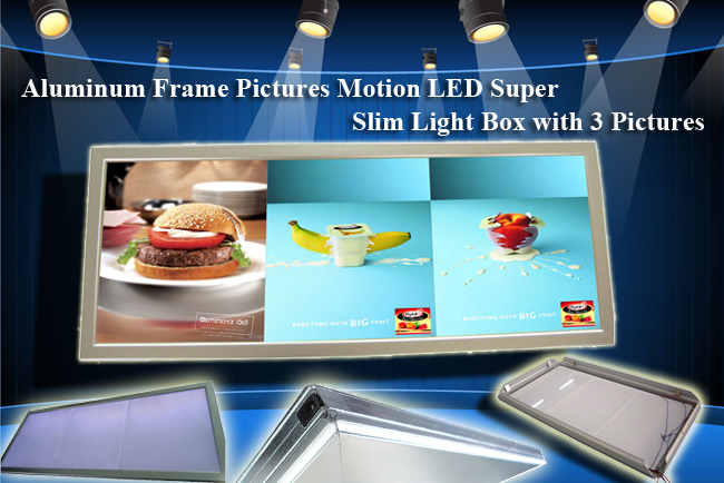 Aluminum Frame Pictures Motion LED Super Slim Light Box