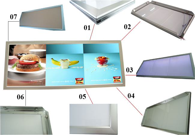 Aluminum Frame Pictures Motion LED Super Slim Light Box  details