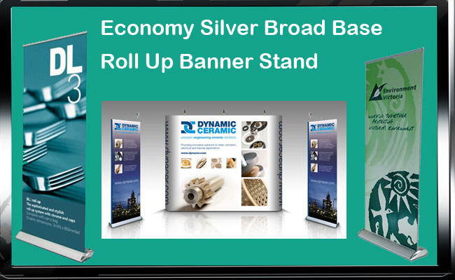 Economy Silver Broad Base Roll Up Banner Stand