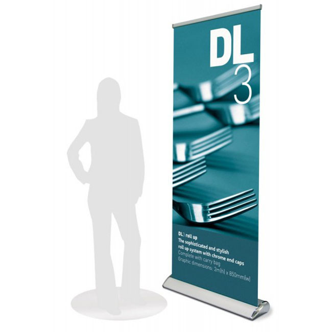 Economy Silver Broad Base Roll Up Banner Stand application 1