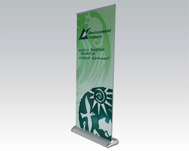 Economy Silver Broad Base Roll Up Banner Stand application 2