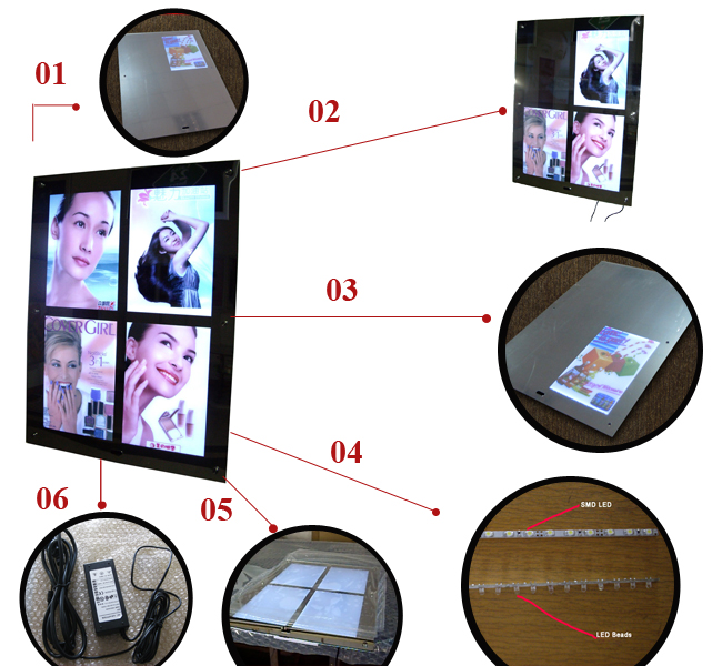 Multi-pictures Acrylic Magic Mirror Light Box  details