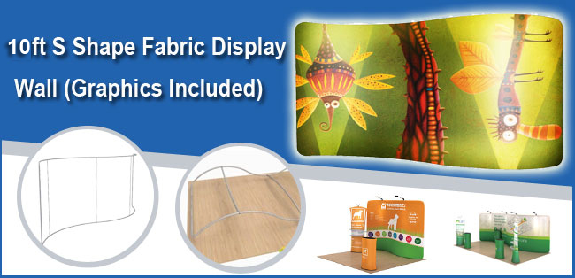 10ft S Shape Fabric Display Wall