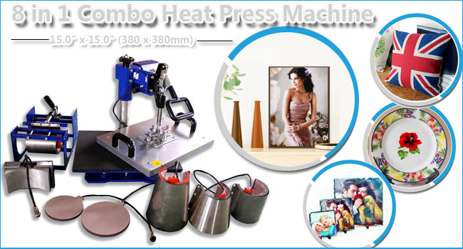 8 in 1 Combo Heat Press Machine 15.0 x 15.0 (380 x 380mm)