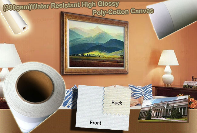 380gsm)Water Resistant High Glossy Poly-Cotton Canvas