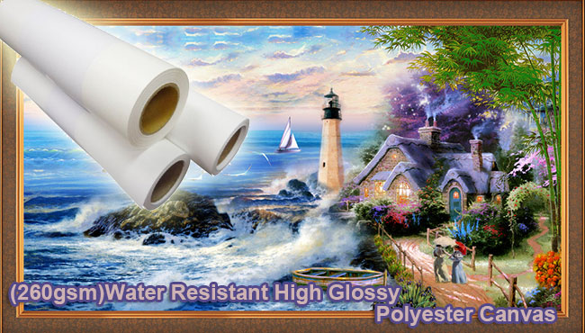 (260gsm)Water Resistant High Glossy Polyester Canvas