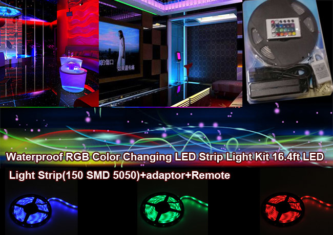Waterproof RGB Color Changing LED Strip Light Kit 16.4ft LED Light Strip(150 SMD 5050)+adaptor+Remote