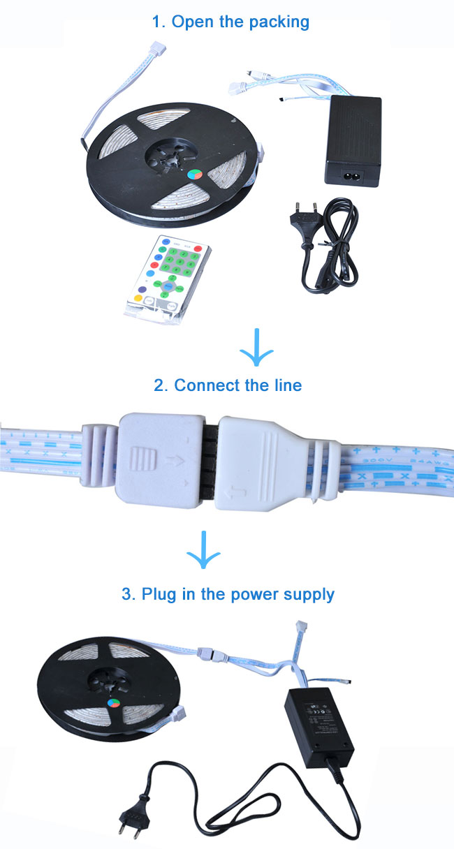 Waterproof RGB Color Changing LED Strip usage