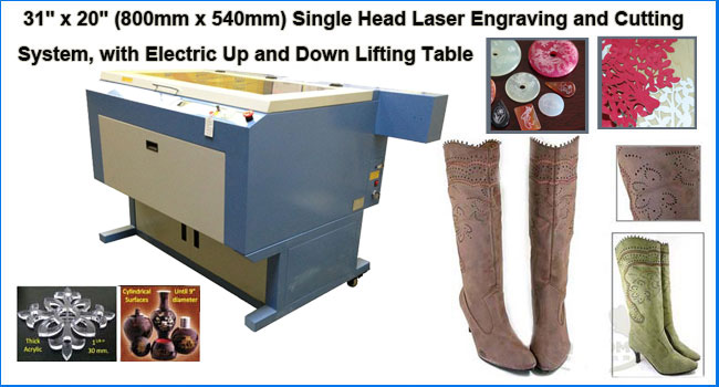 Single Head Laser Engraving and Cutting System, with Electric Up and Down Lifting Table