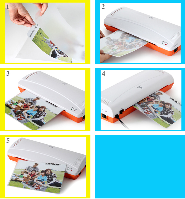 A4 Photo Document Constant Temperature Thermal and Cold Pouch Laminator usage