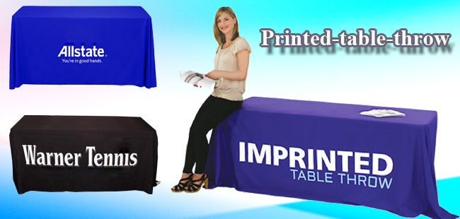 Standard 8ft Four Sides Rectangular Table Throws with Custom 1 Color Text Imprint - Royal Blue