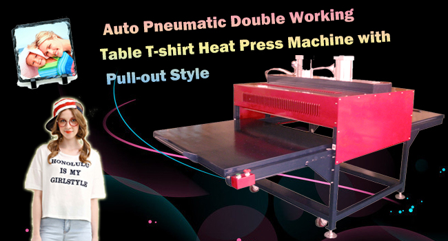 Auto Pneumatic Double Working Table T-shirt Heat Press Machine with Pull-out Style