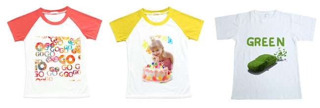 Sublimation Blank Polyester T-Shirt Raglan with Sleeve Colorful for Children sublimation effect