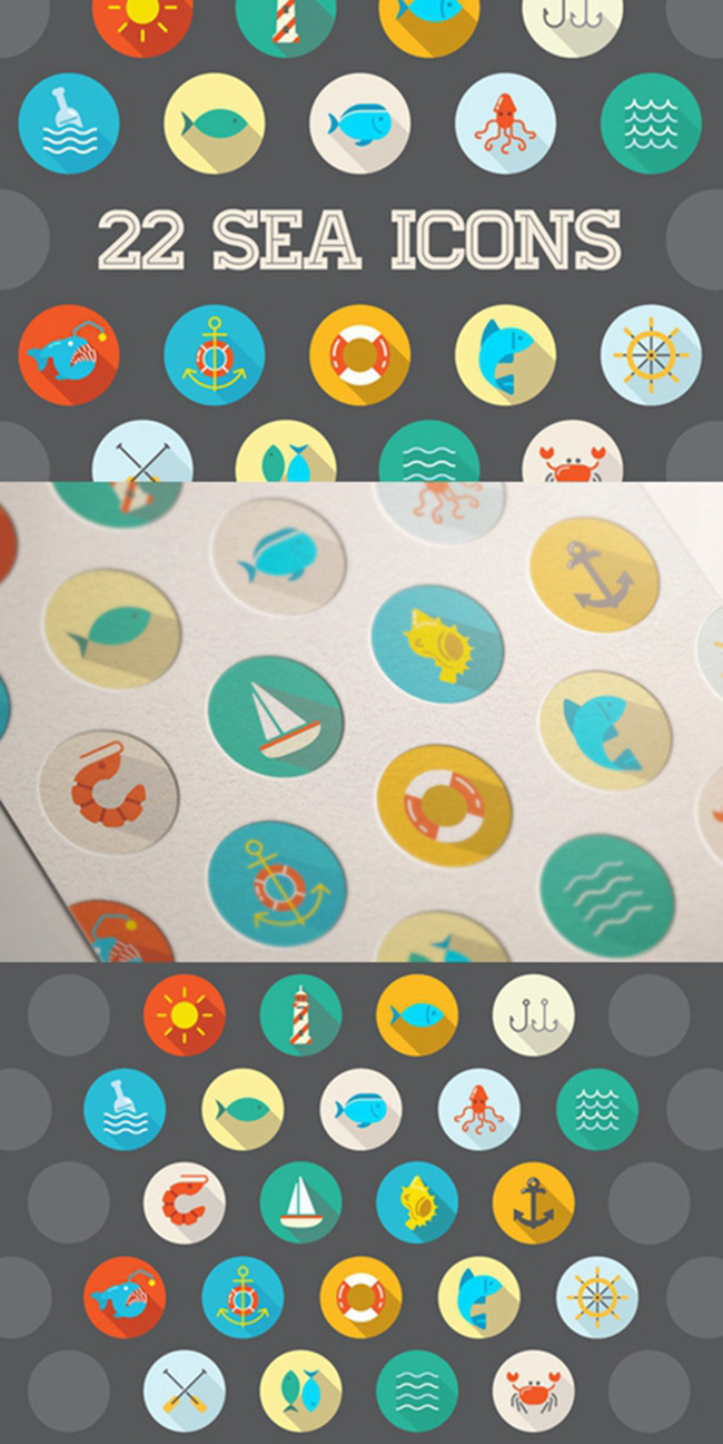 Details of Awesome 22 Flat Vector Sea Vector Flat Icons With Long Shadow (Free Download Illustrations)