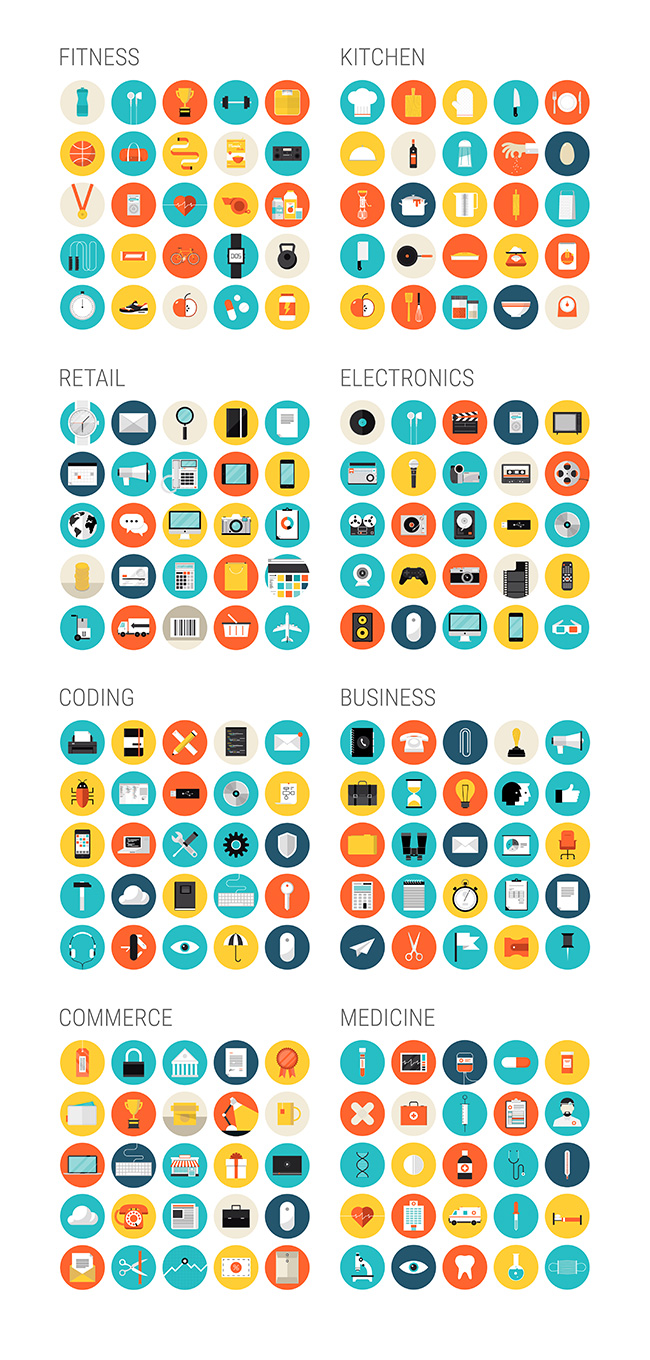 details of Brightly All Vector Flat Icon Set (Free Download Illustrations)