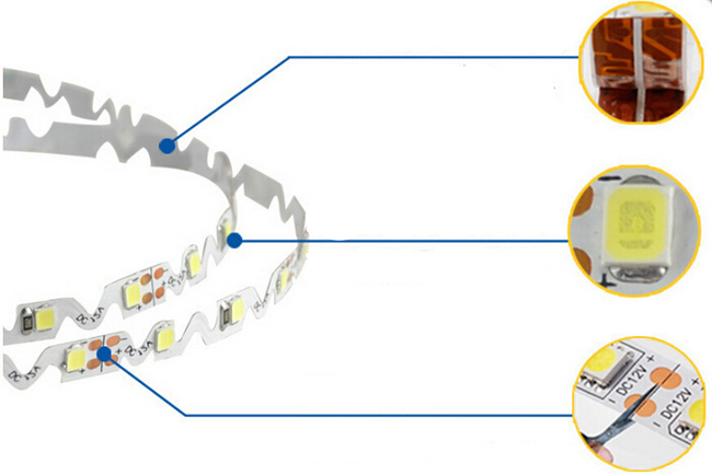 16.4FT 2835 Flexible LED Strip Bendable S Type 5M SMD 300 White Light NP detail