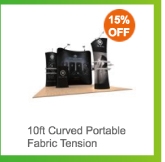 10ft Curved Portable Fabric Tension Exhibition Display System With Graphic #01