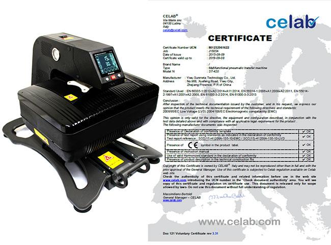 Heat Press Transfer Machine Certification