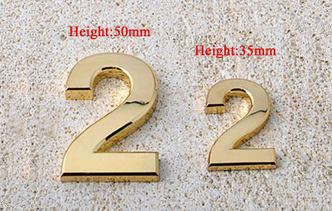 ABS Arc Plating golden Self-stick Number, Shining Mailbox Number, Reflective Address Number, Adhesive Vinyl Mailbox Number