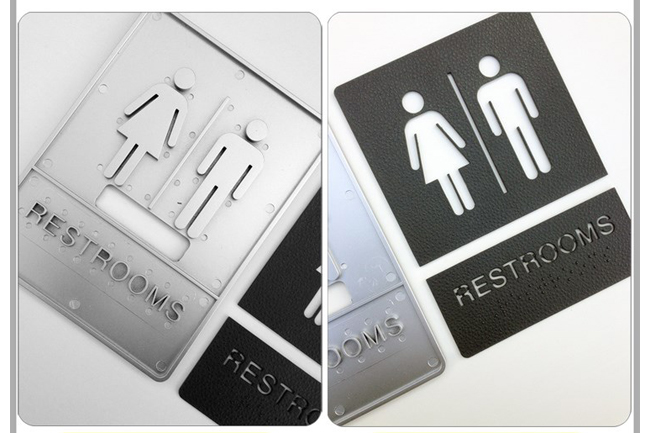 Male / Female, Toilet, Restroom Signs With Braille