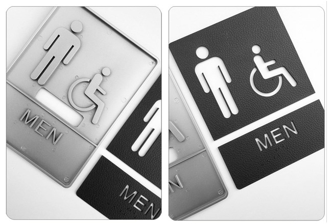 Male / Disabled, Toilet, Restroom Signs With Braille