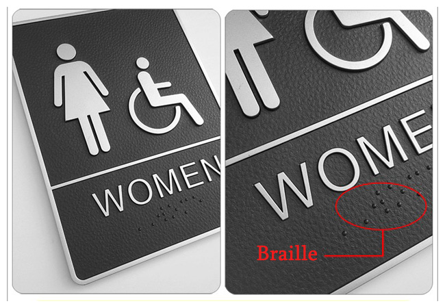 Female / Disabled, Toilet, Restroom Signs With Braille