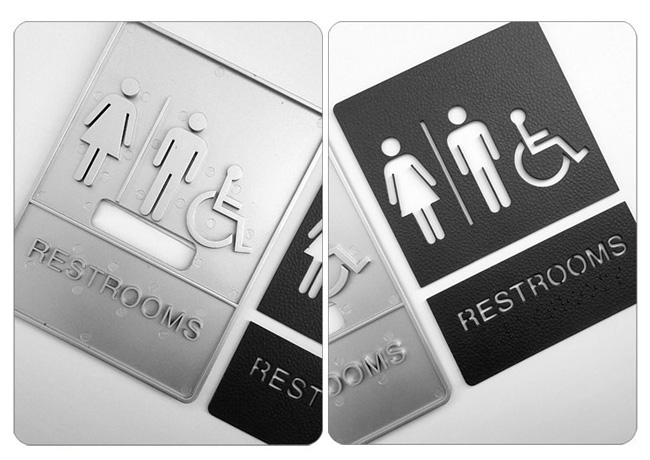 Male / Female / Disabled, Toilet, Restroom Signs With Braille