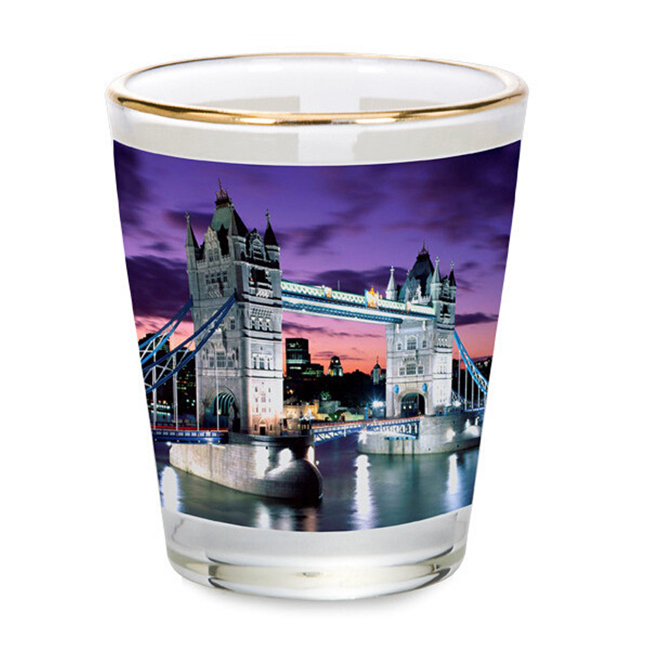 OZ Shot Wine Glass Cup with Golden Rim for Subliamtion Printing