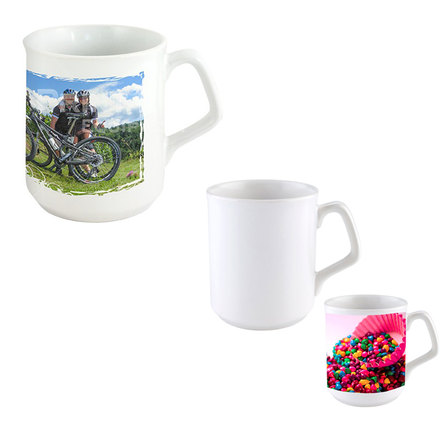 OZ Coating White Mug with Special Handle for Sublimation Printing