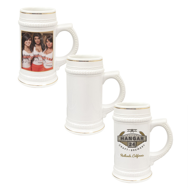 22 OZ Sublimation White Beer Stein with Golden Rim