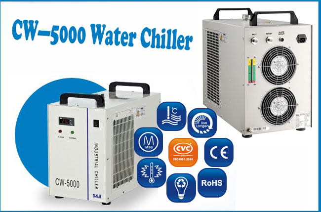 CW-5000AI Industrial Water Chiller for a Single 5W-10W Solid-state Laser Cooling, 0.4HP, AC 1P 220V, 50Hz