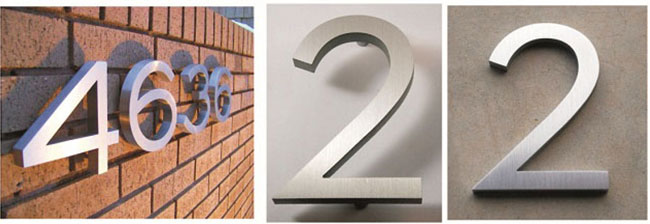 Modern Stainless Steel Numbers For Adderss Plaque