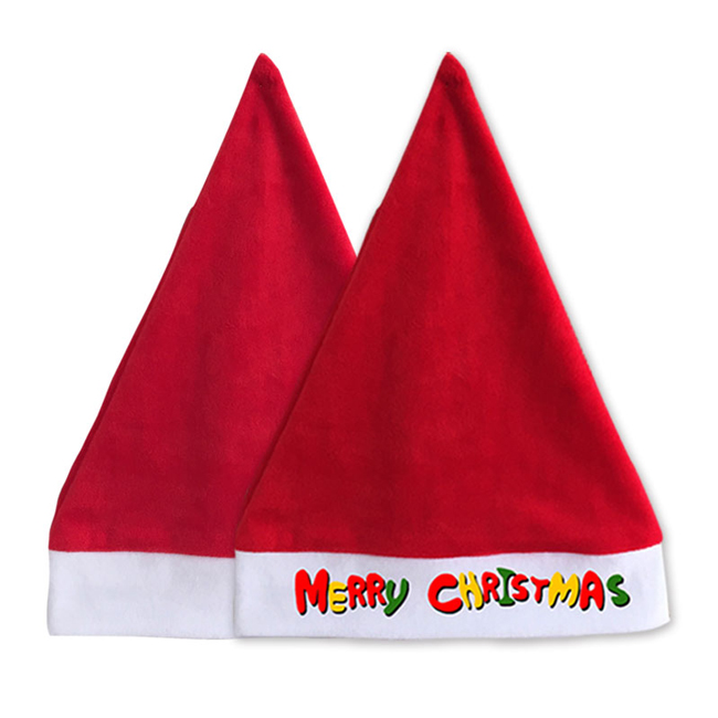 Simple Design Blank Sublimation Christmas Caps Soft Plush Hats for Adults