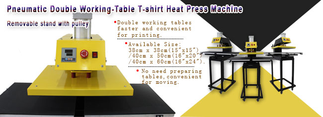 Pneumatic Double Working-Table Heat Press Machine with Removable Tables and Stands