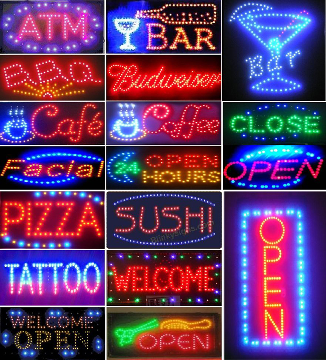 Bright Animated LED Welcome Shop Store Bar Open Sign 19