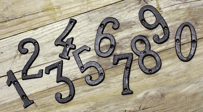 Cast wrought iron black antique house door alphabet