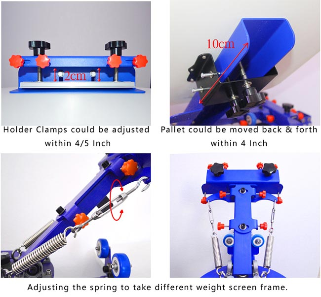 6 Color 6 Station Manual Screen Printing Press Micro-adjust Rotatable Machine Details