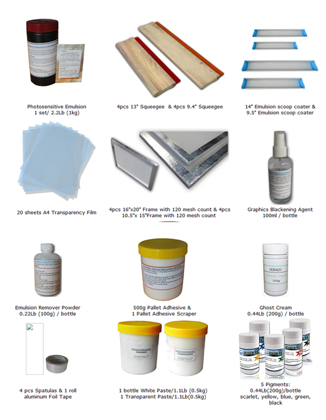 T-Shirt Screen Printing Materials Kit 5 Color Pigment Emulsion Squeegee Coate