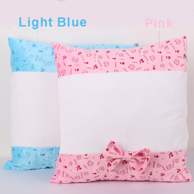Sublimation Blank Pillow Case with Two Sides Bear Pattern and Bowknot Cartoon Fashion Cushion Cover