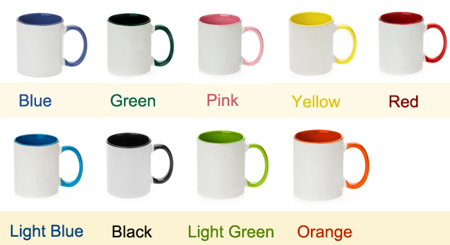11 OZ ORCA Coating Two Tone Sublimation Mug with Inner and Handle Colorful