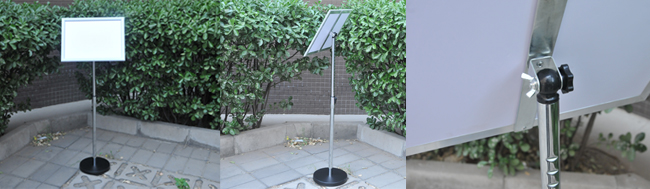 A3 Size Pedestal Sign Stand Adjustable Height Vertical / Horizontal Display Frame