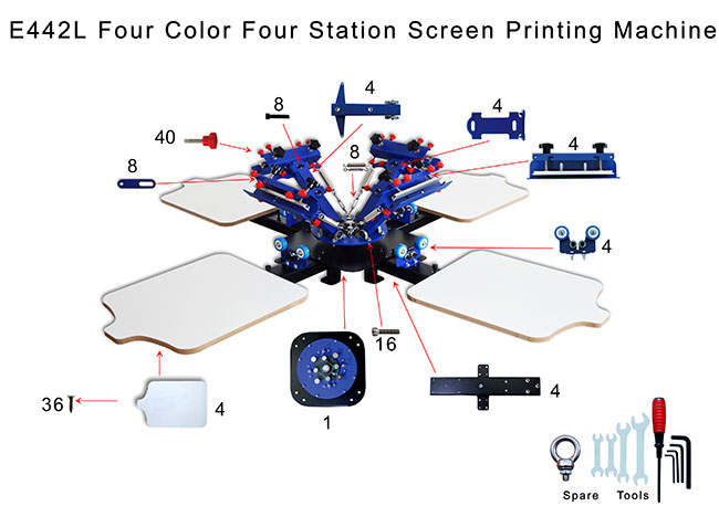 4 Color Station Micro Registration Silk Screen Printing Machine T Shirt Printer